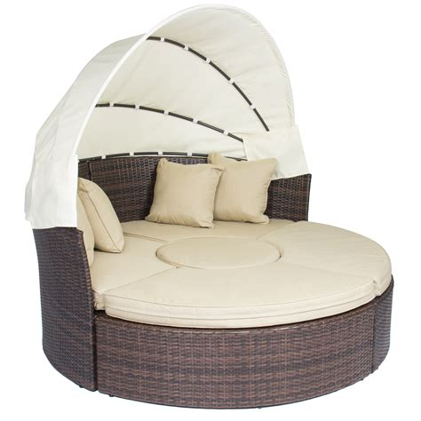 rattan daybed outdoor patio sofa furniture round retractable canopy