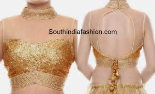 golden color blouse high neck gold sequins blouse south india fashion