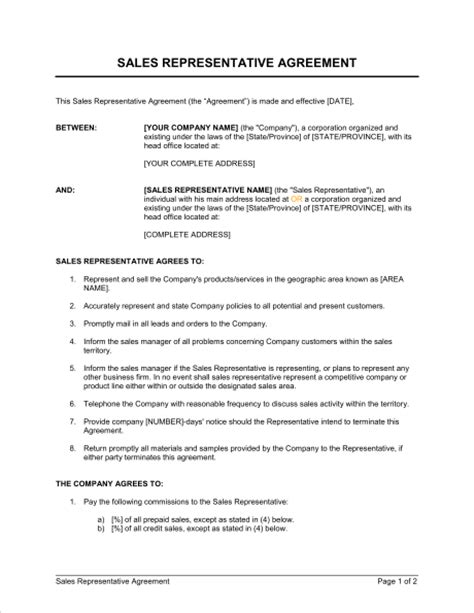 sales representative agreement template sle form