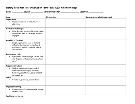 Classroom Observation Form Student Observation Template