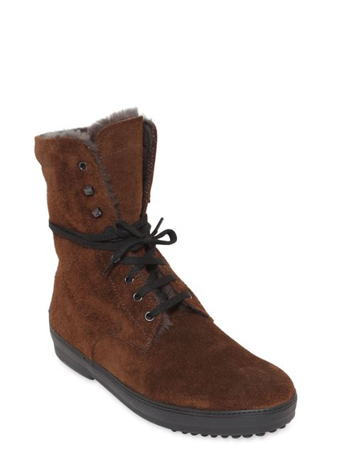 tods boots tod s shearling lace up boots in brown for lyst
