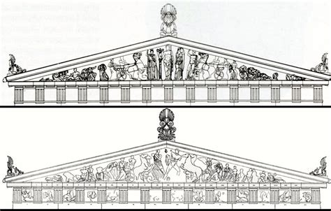 reconstruction drawings east and west pediments parthenon