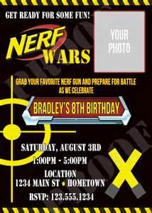 personalized photo invitations cmartistry nerf gun war battle birthday photo