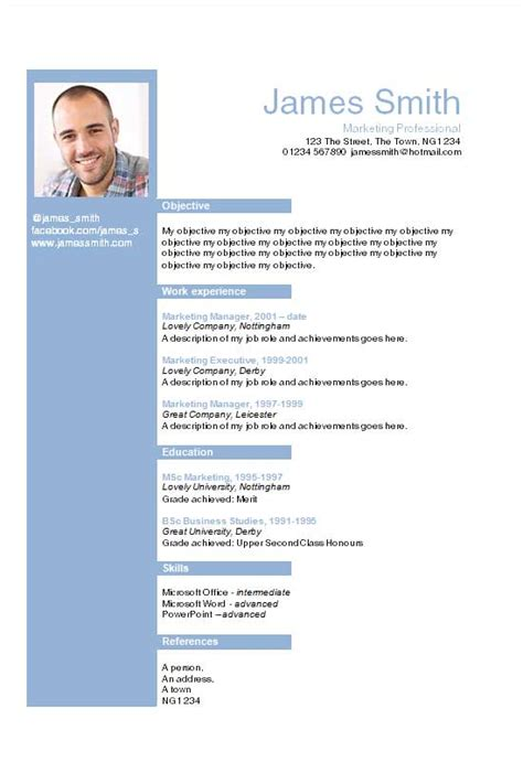 helvetica blue layout word cv template how to write a cv