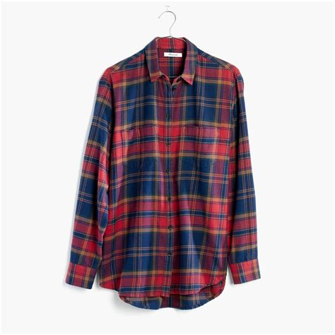 Oversized Flannel madewell flannel oversized ex boyfriend shirt in lewis plaid in blue lyst