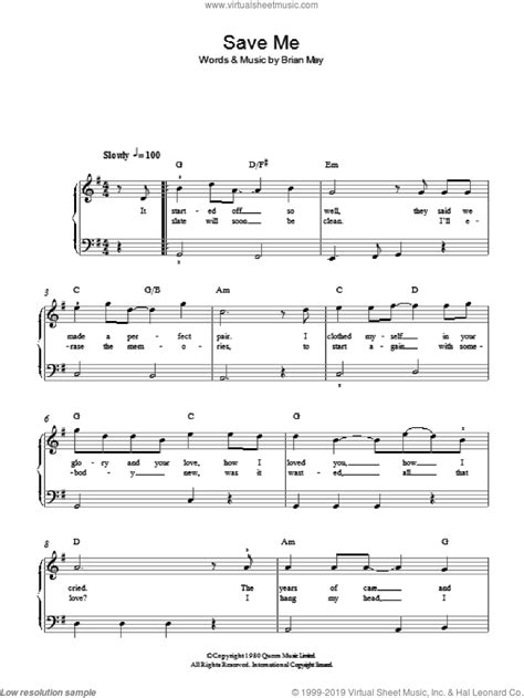 Queen - Save Me sheet music for piano solo [PDF]