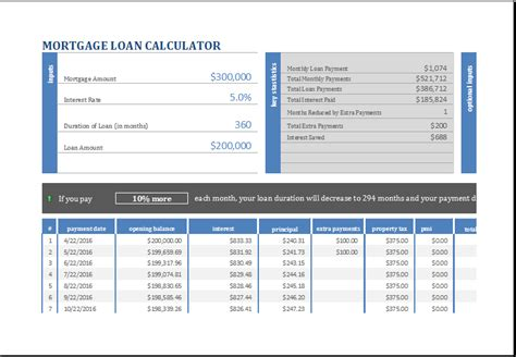 house loan mortgage calculator 15 business financial calculator templates for excel excel templates