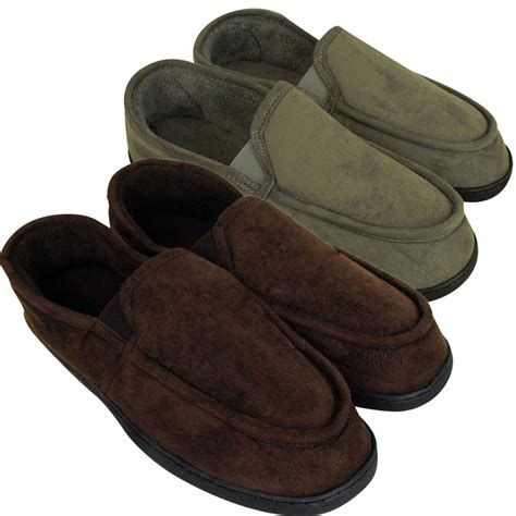 moccasin slipper mens classic slipper elastic gusset moccasin slippers