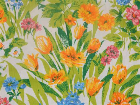bright floral upholstery fabric 1960s bright floral woven fabric yardage pillow covers set