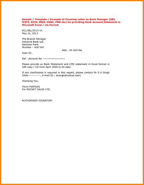 Bank Statement Of Icici Bank Letter Format Sle Letter Ask The Bank Statement Cover Letter Templates