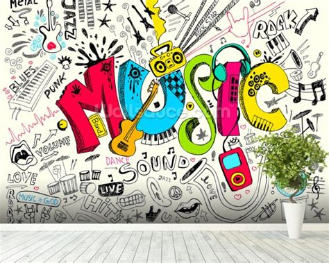 the sonars musical doodle free doodle wallpaper wall mural wallsauce usa