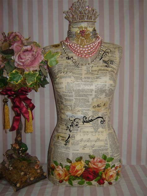 Decoupage Mannequin - dress form decoupage and the dress on