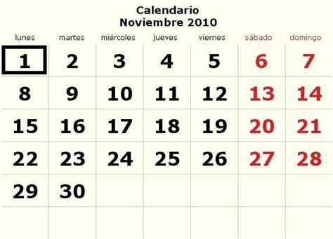 Calendario Noviembre 2010 Calendario Noviembre 2010 Definanzas