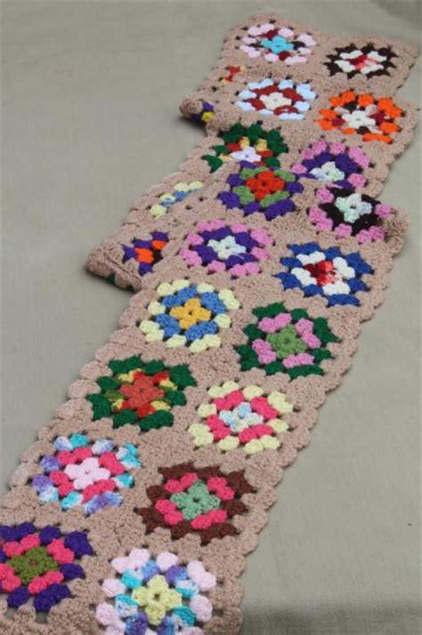 funky happy bright crochet scarf, vintage bohemian muffler
