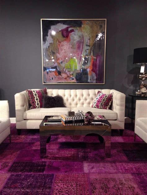 plum and gray living room advertisement