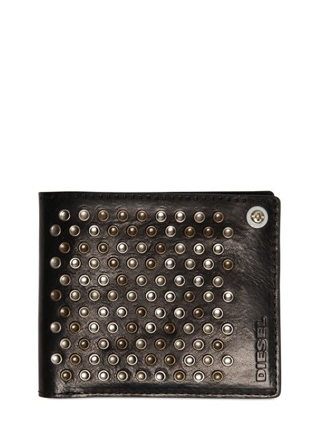 Studded Zip Wallet diesel studded leather wallet with zip pocket in beige for