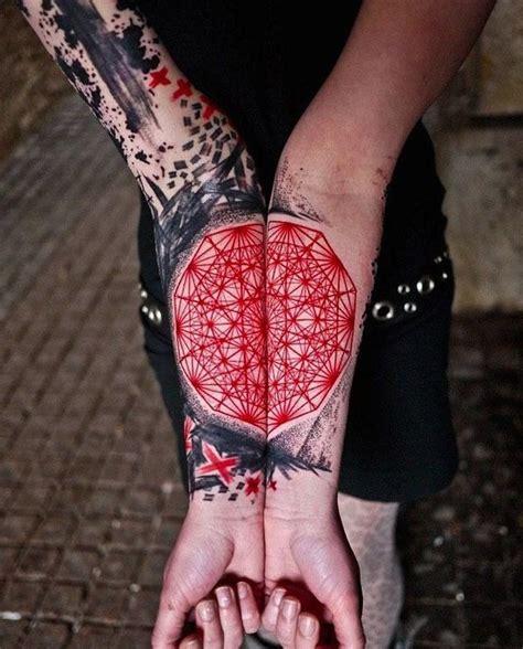 mandala tattoo red vivid colors black red mandala fotearm tattoo
