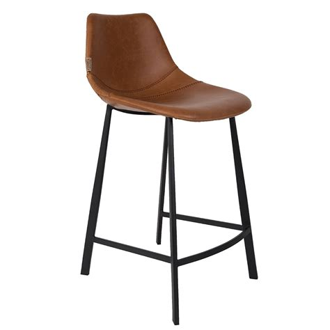 brown bar stools leather dutchbone set of 2 franky counter bar stools in brown pu