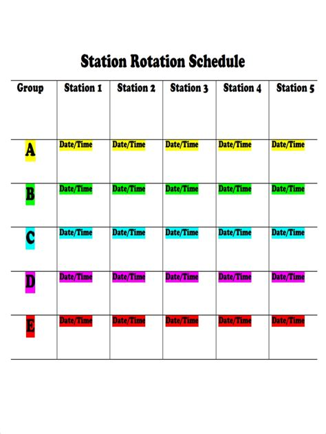 rotation schedule examples samples