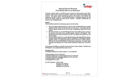 optimal capacitor placement ppt tutorials resource results resource center etap