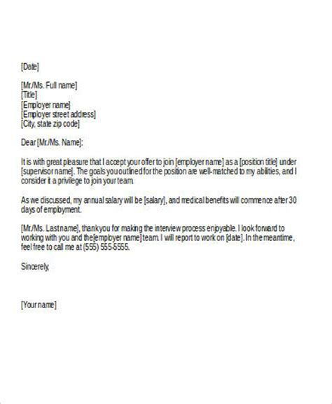 Offer Letter Email To Candidate sle acceptance letter from employer cover letter