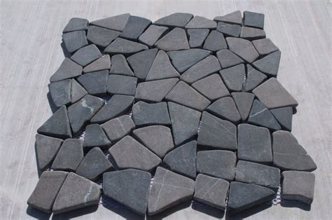 grey tumbled interlocking wall and floor tiles marble
