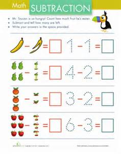 subtraction with pictures fruit worksheet education com