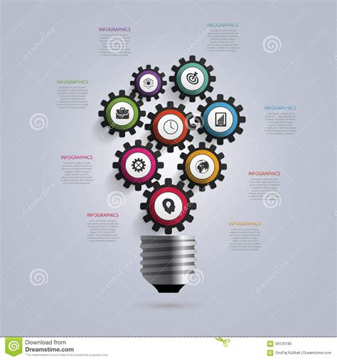 light bulb  gears  cogs infographic design