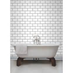 Ceramica white subway tile effect wallpaper by fine decor