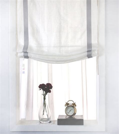 gray and white l shade gray border off white linen relaxed roman shade classic