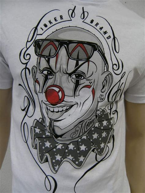 tattoo shirt designs joker clowns gangster joker brand t shirt weiss