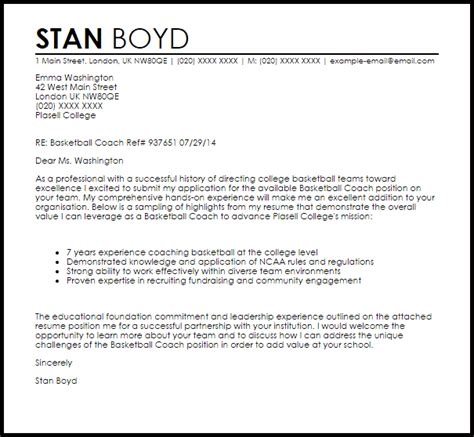 Basketball Coach Cover Letter Sample   LiveCareer