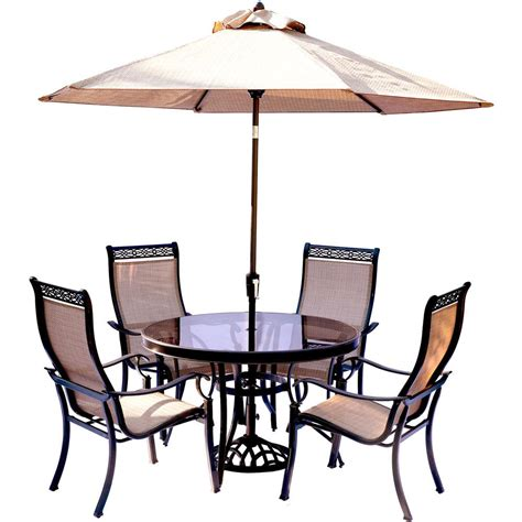 Patio Table And Chairs With Umbrella Hanover Monaco 5 Outdoor Dining Set With Glass Top Table And Contoured Sling