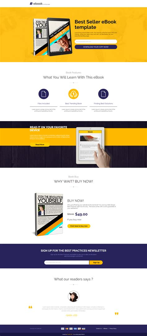 Best Lead Gen Html5 Landing Page Template For Ebook Selling Olanding Best Landing Page Templates