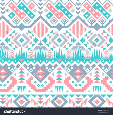 Tribal Pattern Blue And Pink | vector seamless pink blue tribal pattern stock vector