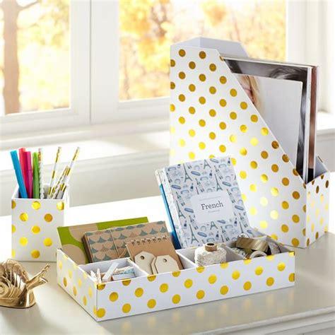 gold desk accessories set printed paper desk accessories set gold dot pbteen