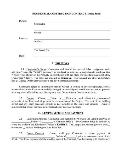 Sle Construction Contract Form 10 Free Documents In Pdf Building Contractor Agreement Template