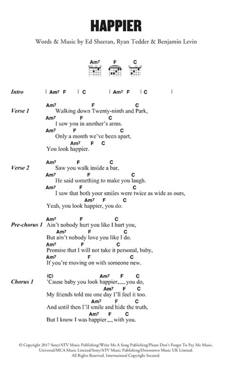 ed sheeran chords happier happier sheet music by ed sheeran lyrics chords 125181
