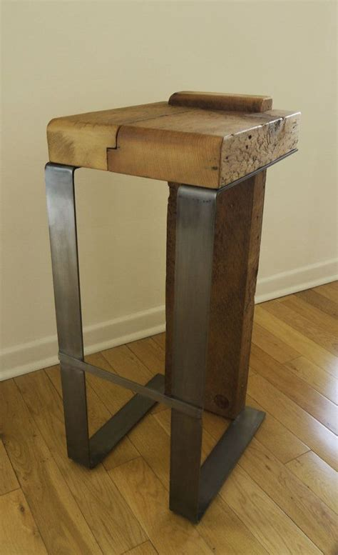 Reclaimed Wood Bar Stool Reclaimed Wood Bar Stool Forged