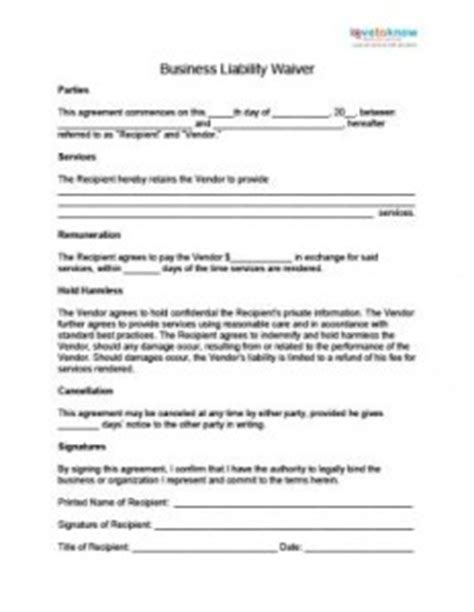 responsibility contract template product waiver of liability contract templates