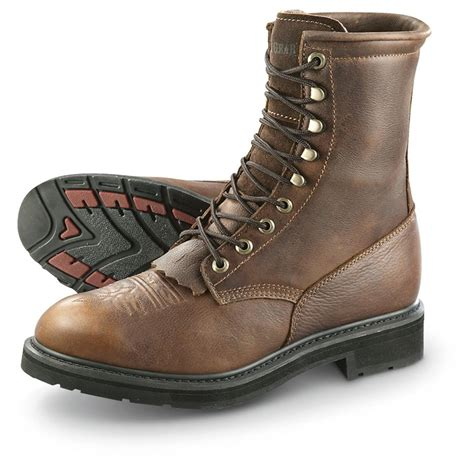 mens leather work boots guide gear s 9 quot kiltie leather work boots waterproof