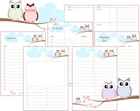 a5 printable agenda a5 filofax printable inserts pastel owls includes week on