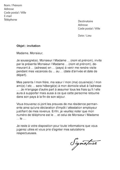 Modèle De Lettre D Invitation Visa Schengen lettre d invitation visa schengen mod 232 le de lettre