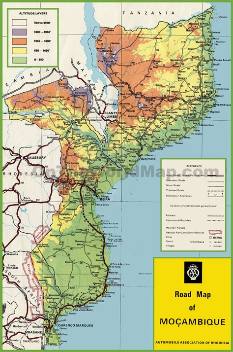 map of mozambique cities mozambique road map