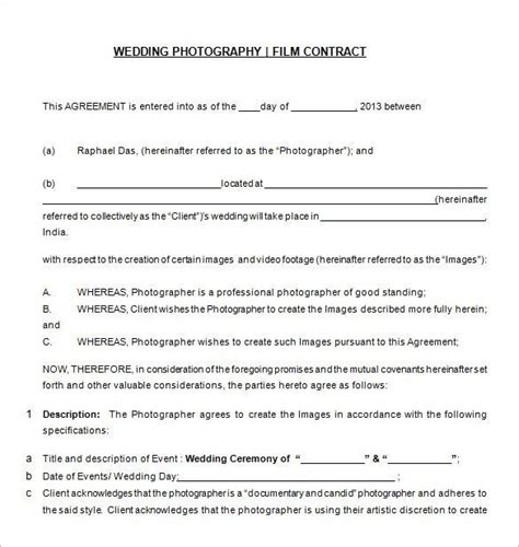photographer contract template free wedding photography contract templat 20