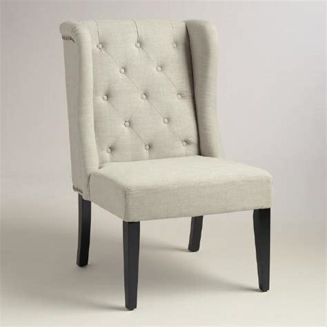 Tufted Wingback Chair by Linen Tufted Wingback Chair World Market