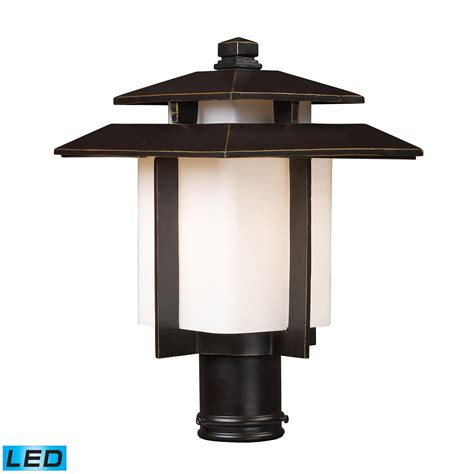 Pier Mount Outdoor Lights Kanso 1 Light Outdoor Led Pier Mount In Hazlenut Bronze 42173 1 Led Elite Fixtures