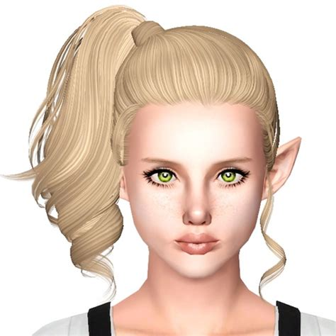 side ponytail sims 3 side high ponytail hairstyle skysims 153 retextured by