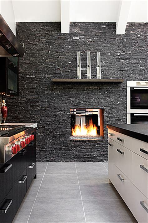 kitchen fireplace houzz mission hills modern fireplace modern kitchen kansas