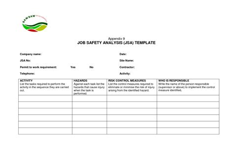 free jsa template safety analysis template l vusashop